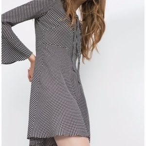 Zara Woman Polka Dot Tie Neck Bell Sleeve Dress